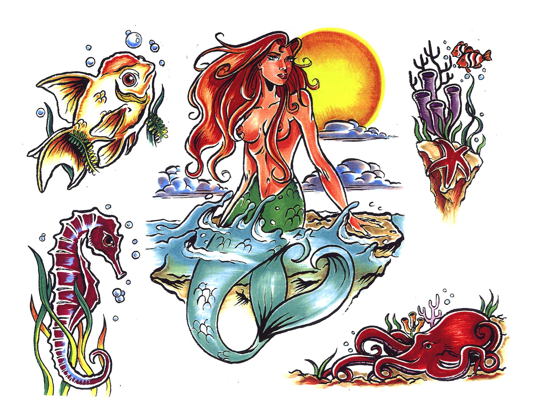 Эскизы для тату русалки