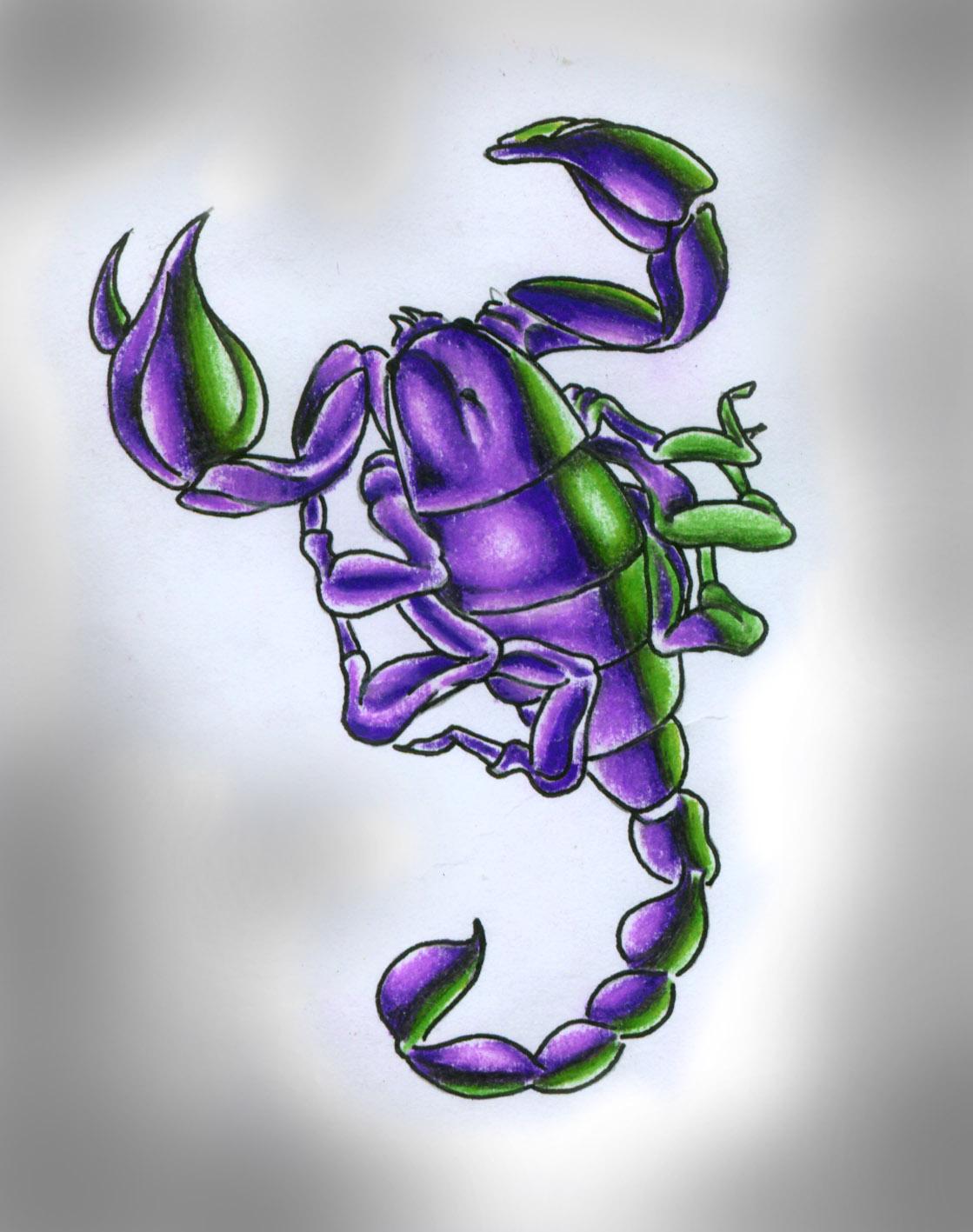 Фото цветных татуировок скорпиона